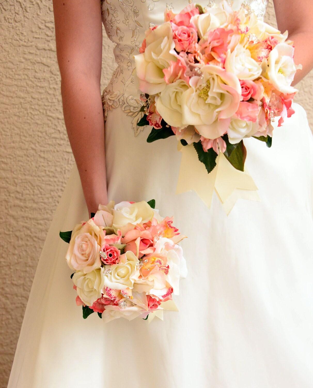 bride bouquet round bouquet wedding set coral white ivory. Black Bedroom Furniture Sets. Home Design Ideas