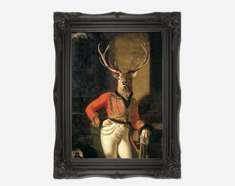 Colonel / Soldier Stag Deer Head Vintage Print. Perfect gift for Birthdays or Christmas.