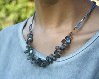 Labradorite and 14k gold necklace, boho chic jewelry