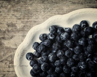 Kitchen Art, Blueberry Photography Prints, Rustic Neutral Wall Art, Modern Rustic Farmhouse Decor, Blue and Gray | 'Blueberries'
