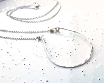 Sterling Silver Large Textured Horseshoe Necklace