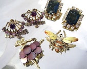 Vintage Rhinestone Jewelry Lot MOP Ballerina,  Enamel Bee Insect Brooches, Blue Purple Rhinestone Earrings Costume Jewelry  Lot 50's