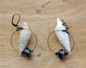 AGATHE earrings • brass and black glass beads