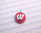 6 Wisconsin Badgers Charms Silver Plated University Logo Round Pendants