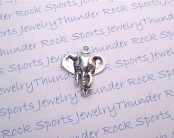 8 Antique Silver Elephant Heads Pendants Good Luck Charms