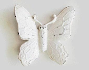 Butterfly Wall Art. White Metal Butterfly. Dorm Decor. Butterfly Nursery. 3D Art. Girls Room Decor. Fairy Garden. Spring Decoration