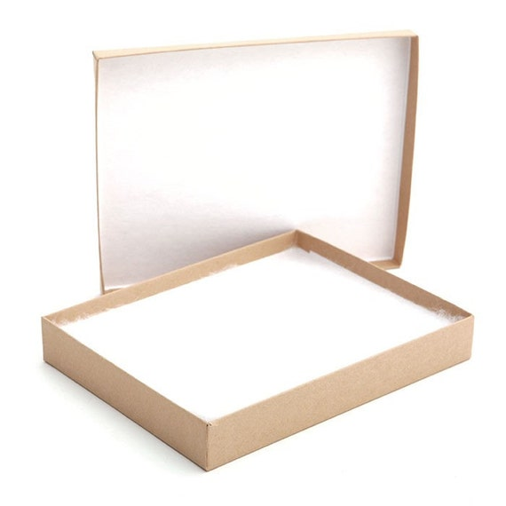 BOXES / Lidded Kraft 6 x 5 x 1 inch / Set of 5 / Stationery Jewelry Gift Retail Packaging /  Two Piece