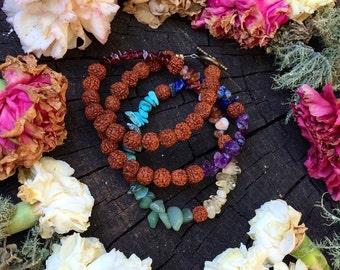 RUDRAKSHA CHAKRA Mala / Wrap bracelet - wraps around wrist 3 times - all natural gems