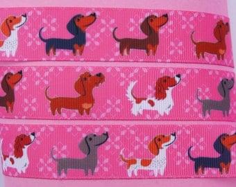 "10Yd Printed Hot Pink Sausage Dogs 7/8"" White Grosgrain Ribbon"