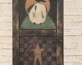 Made to Order-Primitive Decor-Framed Sheep with Crow, Star & Checkerboard-Large Wall Hanging