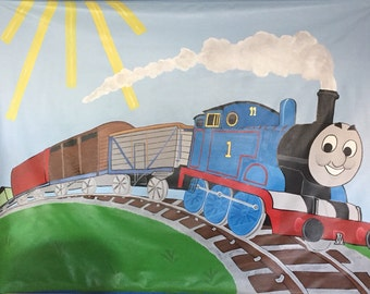 Thomas the Train Party Supplies, Train Mural, Boys Room Decor, Train Photo Backdrop, Train Table Backdrop, Thomas the Train decor