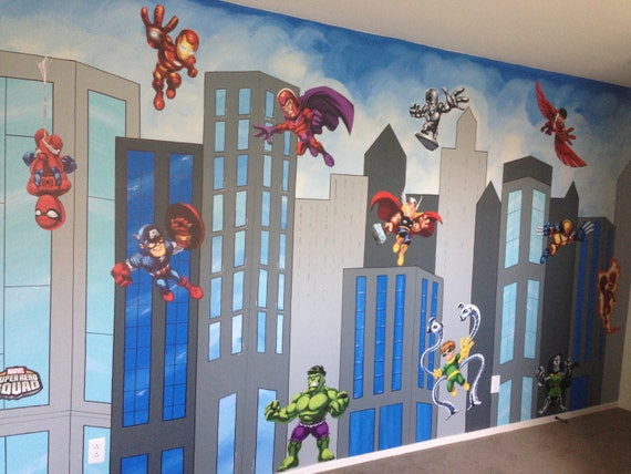 Items similar to superhero mural canvas mural superhero for Cityscape murals photo wall mural