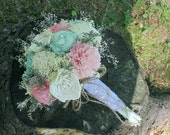 Handmade Wedding Bouquet, Sola wood Bouquet, Burlap Peach Mint Bouquet, Alternative Bouquet, Peach Bouquet, Sola flowers, Wood Bouquet