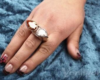 Zircon Ring, White & Orange Zircon, Unique Jewelry,  ALADDIN'S CAVE, 925 Sterling Silver Ring, Size 11