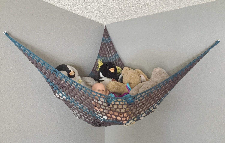 crochet stuffed animal hammock kid 39 s room storage net. Black Bedroom Furniture Sets. Home Design Ideas