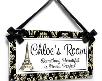 personalized door signs Eiffel Tower damask pattern door sign - Kids girls and teens Paris french decor - P112