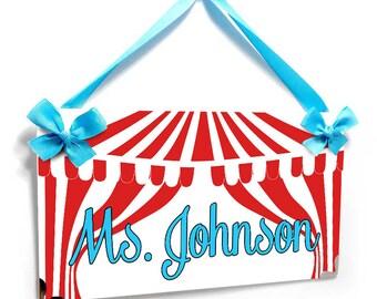 personalized carnival themed class teacher door sign -  circus tent plaque school decor - P694