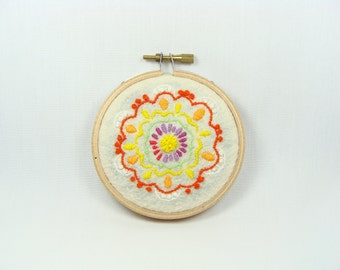 Colorful Hand Embroidered Spring Garden - Home Decor, Hoop Wall Art, Baby Shower Gift, Nursery Room, custom work available