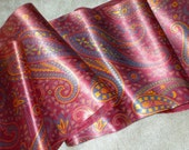 Antique pure silk ribbon paisley design yardage 6 1/4 ins wide 1920s printed new old shop stock