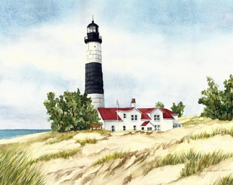 "Set of 4 Great Lakes Lighthouse Watercolor Reproductions 6"" x 9"""