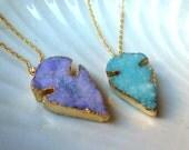 Arrow druzy pendants, gemstone pendants, gold plated chain, long chain necklace, amethyst druzy, aqua marine stone