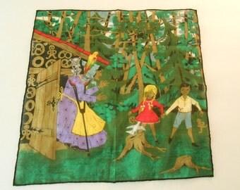 S A L E vintage Hansel and Gretel hankie handkerchief storybook fairytale