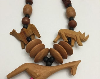 Necklace Vintage Wood Hand Carved Safari Animals Camel Giraffe Rhino Big Bold Tribal Ethnic Boh0 Chic Forest To Runway Spa Resort Pool Beach