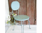 Vintage French Country Farmhouse 1930s Childrens Youth Chair Mid Century Industrial Cottage Robins Blue Painted Wood Metal Baby Chair
