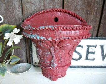 Vintage 1920s Terracotta Tuscan Clay Pottery Mission Wall Planter Farmhouse Garden Flower Pot Jardiniere Flower Design Old Paint Patina