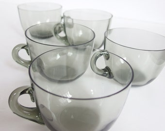 Mid-Mod Smoked Glass Teacups. Set of Five. Delicate. Elegant.