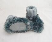Paw Socks/Slippers for Child, Hand Knitt Children Socks, Fun Fur Socks, Toddler Socks/Booties, Grey Socks