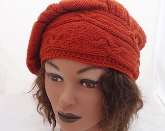 Cable Beret, Hand Knit Women Beret, Stylish Women Beret, Beret in Orange/Terracotta
