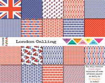 DIGITAL BRITISH PAPER 12x12 Pack • 30 x London Themed Red, White, Blue, Union Jack, Phone Box, Roses, Bus • Inked • jpeg • rgb • 300 dpi •