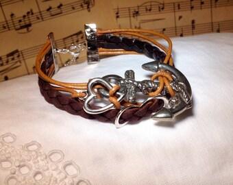 Wrap Leather Bracelet Brown Silver Anchor