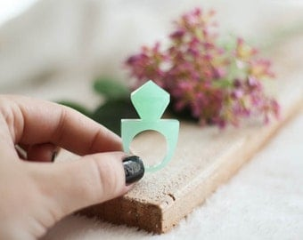 Pastel Mint Diamond Resin Ring, Unique Resin Jewelry, Mint Epoxy Ring, Stackable Resin Ring
