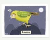 Kakapo print - parrot pri...