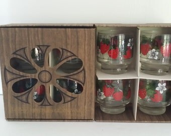 Eight Vintage Libbey Strawberry Glasses -- In Original Box, Lowball or Juice Glass, 1970s, Red Fruit Design, Housewarming, Wedding Gift