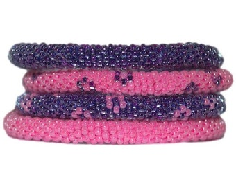 Neon Hot Pink and Purple Flower Crocheted Beaded Bracelets Set,Seed Beads,Nepal, BS523