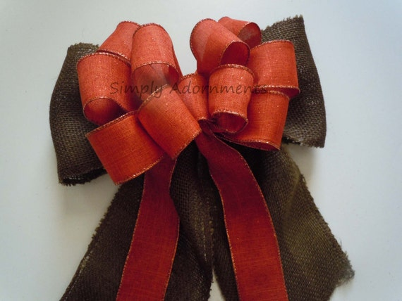 Rustic Fall Pew Bow Burlap Fall Bow Brown Orange Burlap Bow Burlap Thanksgiving Wreath Bow Fall Wedding Pew Bow Fall Swag Door Hanger Decor