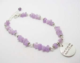 Ever Mind The Rule Of Three Purple Chalcedony Gemstone Bracelet -Three Fold Law - Law Of Return - Wicca - Pagan - Unique Gift