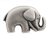 6 Jaybo Baby Elephant 3/4 inch ( 20 mm ) Metal Buttons Antique Silver Color