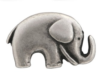 3 Jaybo Baby Elephant 3/4 inch ( 20 mm ) Metal Buttons Antique Silver Color