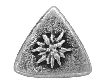 3 Edelweiss Trigon 7/8 inch ( 23 mm ) Metal Buttons Antique Silver Color