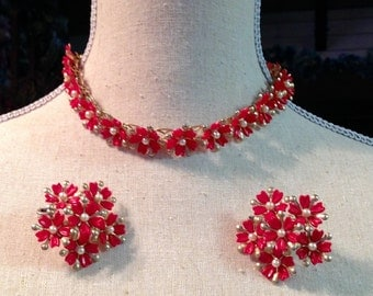 Red Necklace Earring 1950 1960 Demi Parure Cherry Red Thermoset Floral Mad Men