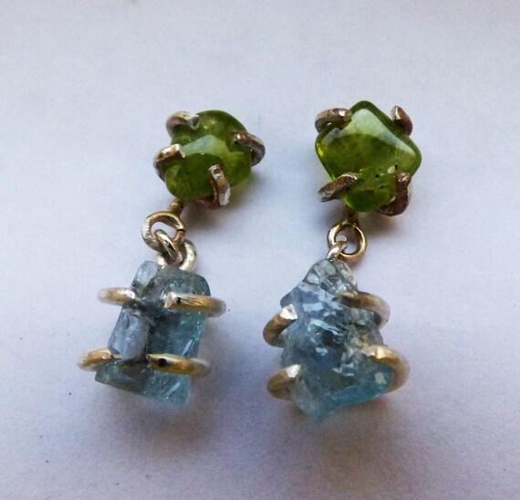 Aquamarine Gemstone Earrings: Rough Gemstone Earrings Raw Rough Aquamarine And By