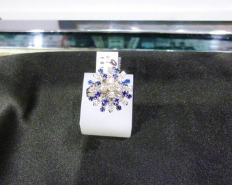 Ladies, 14 Karat, White, Gold, Vintage, Diamond, Blue, Sapphire, Ring