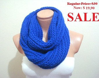 ON SALE cobalt blue Circular Scarf, knit scarf royal blue cowl, super soft scarf, neckwarmer loop scarf gifts under 50 usd women gift