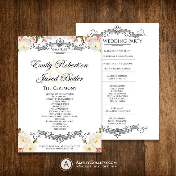 printable wedding programs editable template diy instant. Black Bedroom Furniture Sets. Home Design Ideas