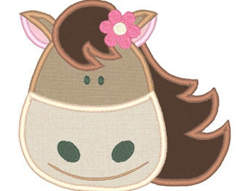 Girl Horse Applique Embroidery Design- Instant Download