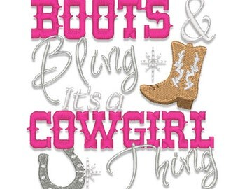 Boots and Bling Embroidery Design- Instant Download